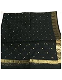 Reshma Silk Women's Poly Cotton Dupatta (Black_Free Size)