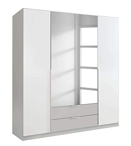 Avanti trendstore - texo - armadio ad ante a battente e con specchio, in bianco alpino e grigio seta. disponibile in 2 diverse misure (lap 181x197x54 cm)