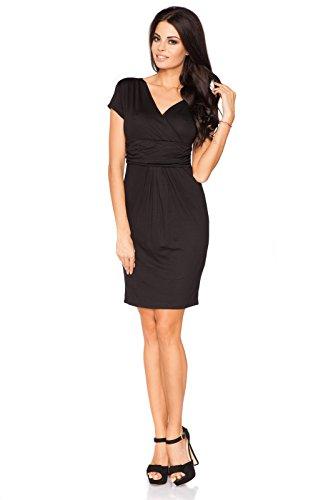 Futuro Fashion Femmes Élégante Soirée Enveloppant Mini Robe Col V Manches Courtes 8415 Tailles 8-18 UK Noir