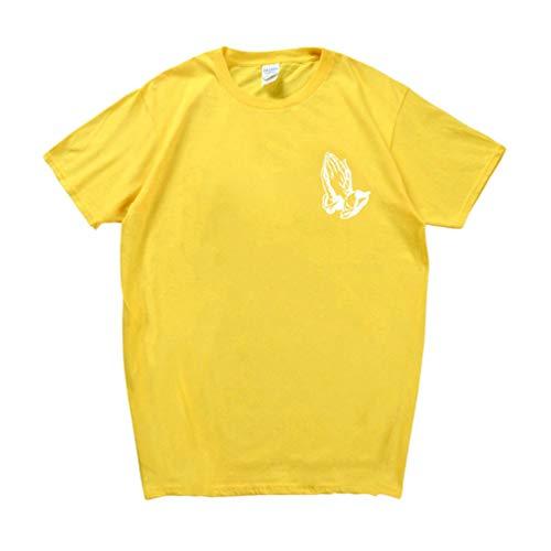 Haobing Herren Damen Fun-T-Shirts Palm-Drucke Kurzarmshirts Casual Sommer Oberteil Rundhals Basic Shirt (#2 Gelb, CN M)