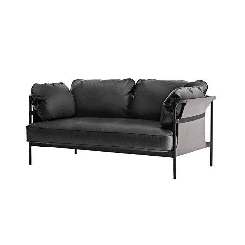 HAY Can 2-Sitzer Sofa, schwarz Softleder Silk SIL0842 172.4x82x89.5cm Gestell schwarz Außenstoff Canvas grau
