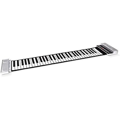 Schubert tastiera roll up pianola musicale MIDI ripiegabile (61 tasti, 88 samples sonori, pedale, funzione registrazione, uscita Jack) - argento
