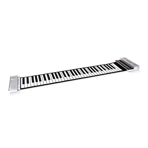 Schubert EC2-61SP • Roll Piano • Keyboard • 61 Tasten • Aufnahmefunktion • abnehmbarer Stereo-Lautsprecher • 30 vorinstallierte Demo-Songs • 3 Lernmodi • 88 Töne • Netz- oder Batteriebetrieb • silber