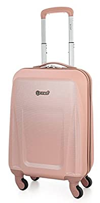 5 Cities Lightweight ABS Hard Shell Carry On Cabin Hand Luggage Suitcase with 4 Wheels, Approved for Ryanair, Easyjet, British Airways, Virgin Atlantic and More, Rose Gold