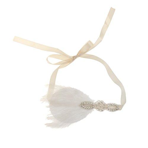 Gazechimp Feder Stirnband, 1920er Stil, 30er Jahre Charleston Kopfband,Fantasie Kostüm, Einheitsgröße,Weiß Silber (30er Jahre Mode Kostüm)