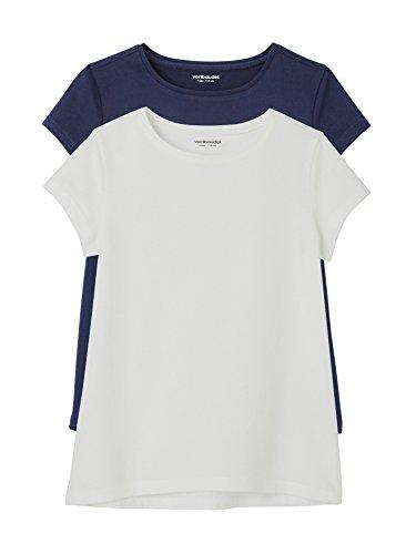 Vertbaudet Happy Price 2er-Pack T-Shirts für Mädchen, Rundhals Pack Marine 140 (Marine-blau-mädchen T-shirt)