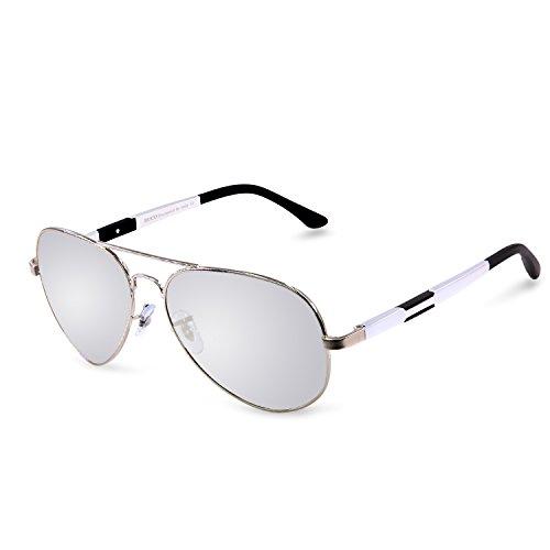 DUCO Unisex Fliegerbrille Polarisierte Sonnenbrille, Pilotenbrille mit Federscharnier, Etui und Putztuch, 3026 (Silber)