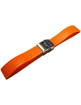 Faltschließe - Uhrenarmband - Silikon - Kautschuk - Stripes - orange 22mm