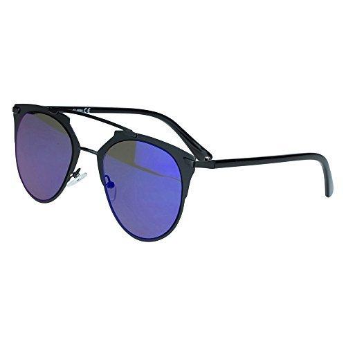 Sense42 Cat Eye Sonnenbrille Pantobrille Damen Flache Gläser Blau verspiegelt Schwarz Metallrahmen...