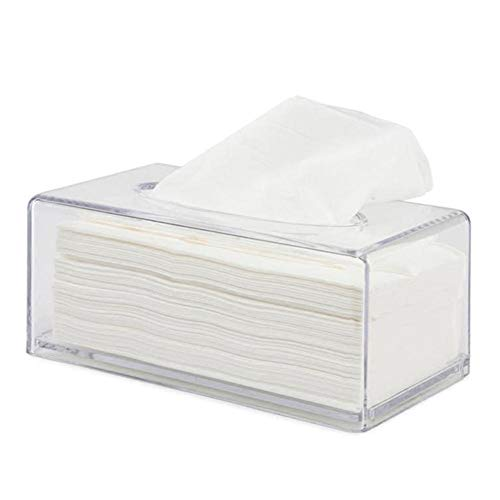 Caja de pañuelos de oficina Dispensador de toallas de papel Caja de pañuelos de dormitorio Caja de tejido rectangular Caja de pañuelos transparente Adecuado para el hogar / oficina / coche, etc