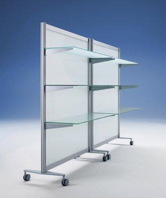 Preisvergleich Produktbild Fachboden für Stellwand, BxTxH 956x300x19 mm, inkl . 2 Bodenträger, Dekor silber