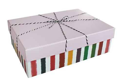 Emartbuy Conjunto de 3 Rígido Lujo Rectángulo Presentación de Caja de Regalo, Caja de Rayas Blancas Con Tapa Rosa, Cinta Rayada e Interior Impreso