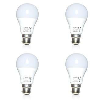 LÉDIS - Ampoule LED A60 - Lot de 4 - Culot baïonnette B22 - 900lm 10W (éq. 70W) - Blanc chaud 3000K - Certif. TÜV