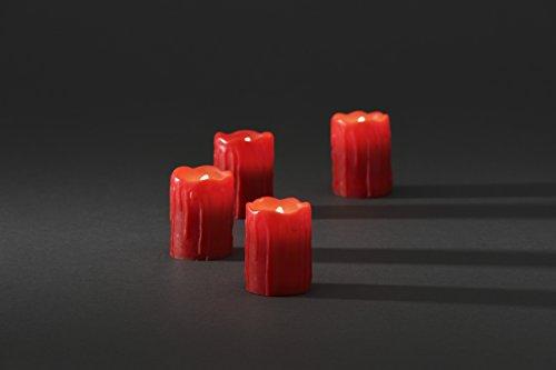 Konstsmide 1966-550 - Juego de 4 velas de cera iluminadas con led de color blanco cálido, aspecto de cera derretida, color rojo, con interruptor de encendido, 4 pilas CR2032 de 3V incluidas