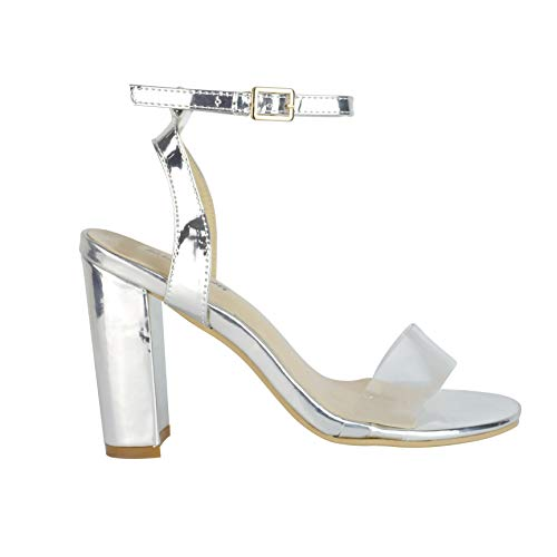 BeMeesh Damen Plateau kaum sichtbare Plexiglas Stiletto High Heel Sandalen Pumps Schuhe Detail Peep Toe Pumps