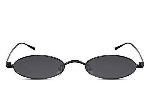 Cheapass Sonnenbrille Klein Oval Schwarz Verspiegelt UV-400 Festival-Brille Metall Damen Frauen