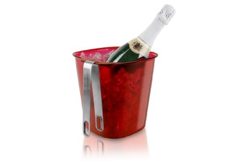 Rabbit Ice Bucket with Stainless Steel Tongs (Red) by Rabbit Red Stainless Steel Tong