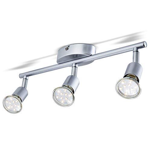 B.K.Licht Lámpara de Techo Orientable, de Cocina, Focos Giratorios, Incluye 3 Bombillas de 3 W GU10, 230 V I IP20, Plata