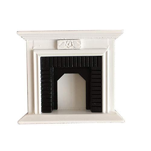 Hunpta@ 3D Haus, 1:12 Puppenhaus Miniatur Möbel Zimmer Holz Vintage Schwarz Weiß Kamin (A) -
