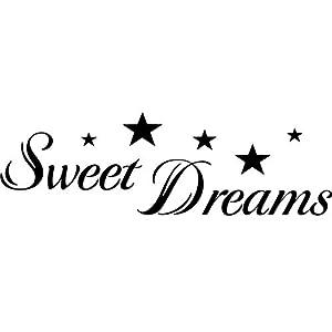 Wandtattoo-bilder® Wandtattoo Sweet Dreams Wandsticker Wandaufkleber Schlafzimmer Tattoo Aufkleber Sterne Sticker Farbe Schwarz, Größe 60x18