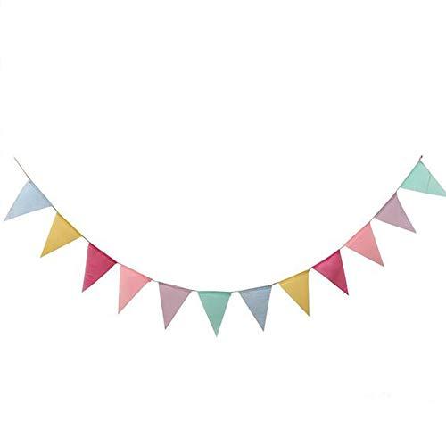 wicemoon 4m/13Füße Lmitation Leinen Triangle Banner Flaggen Vintage Stil Wimpel Girlande Dekoration für Hochzeit, Geburtstag, Brautschmuck Duschen, Baby Dusche (bunt)