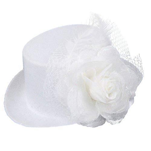 (OLADO Weiße Feder-Organza-Minispitzenhut-Blumen-Klipp Fascinator Brauthochzeits-Hüte)