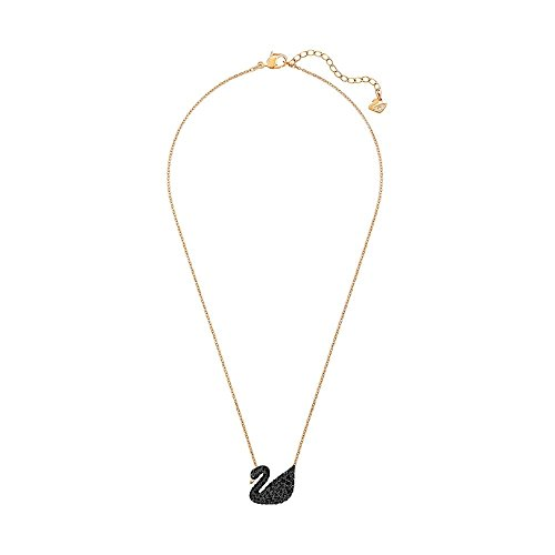 Swarovski Women's Rose Gold Plating and Black Crystal Iconic Swan Necklace Pendant