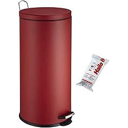 Hailo 0531-869 Poubelle 30 litres + Sacs, Rouge