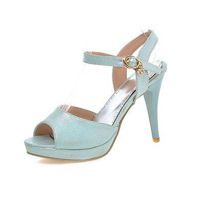 LvYuan Damen-Sandalen-Büro Lässig Party & Festivität-Kunstleder-Stöckelabsatz-Komfort-Blau Rosa Weiß White
