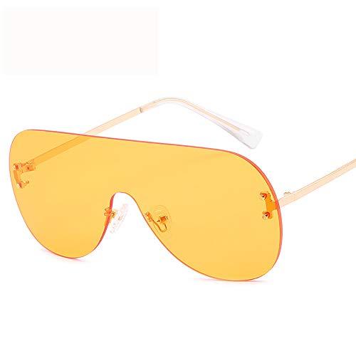 ZXYMUU Women es New One-Piece Lens Sonnenbrille Ocean Piece Fashion Sonnenbrille Trend Persönlichkeit Big Box Sonnenbrille,Yellow