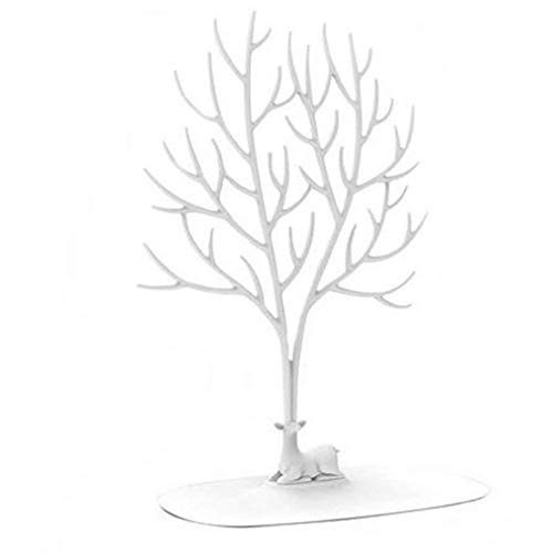 QISF Hirschgeweih Baumständer, Schmuckhalter/Halskettenständer / Armbandständer/Dekorationsregal (weiß)