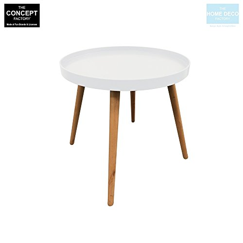 The concept factory Table Basse Blanche avec Plateau Rond