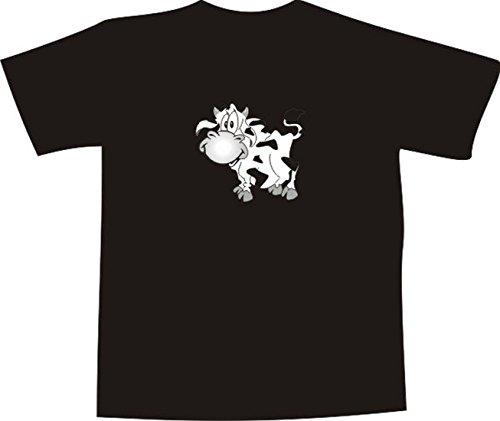 T-Shirt E050 Schönes T-Shirt mit farbigem Brustaufdruck - Logo / Comic - lustige lachende Kuh Mehrfarbig