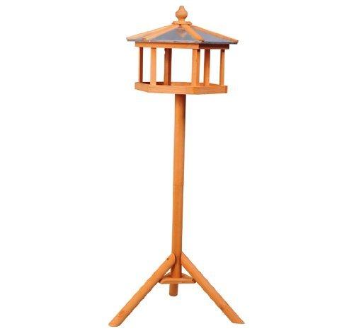 PawHut D3-0006 Vogel/Futterhaus Kanarien Holz mit Ständer und Zinkdach Wasserdicht, natur