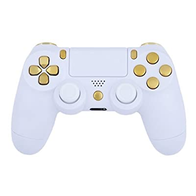 Playstation 4 Custom Controller -Matte White & Gold by CustomControllersUk