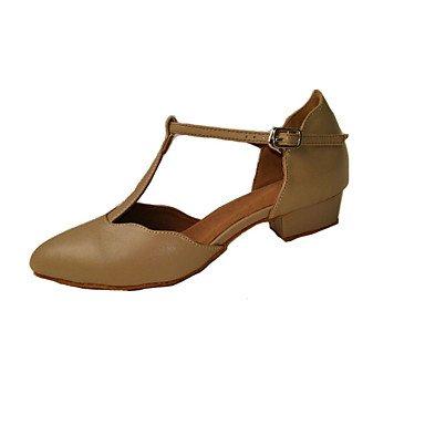 Silence @ Chaussures de danse pour femme moderne/Latin/satiné/similicuir Talon bas Noir/autres amande