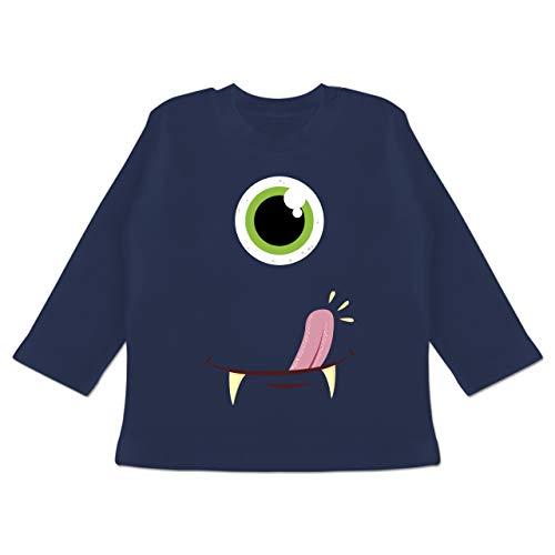 Karneval und Fasching Baby - Monster Gesicht Kostüm - 3-6 Monate - Navy Blau - BZ11 - Baby T-Shirt - Herren Blaue Monster Kostüm