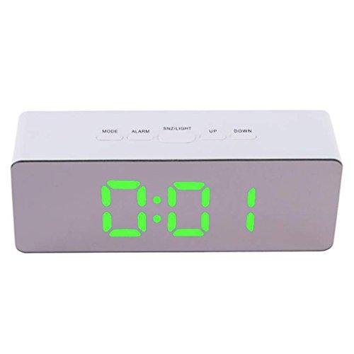 Censhaorme Digital LED Wecker 12H 24H Alarm Thermometer Uhr Elektronische Desktop Snooze-Funktion Spiegeltakt-Innenthermometer Elektronische Uhren USB