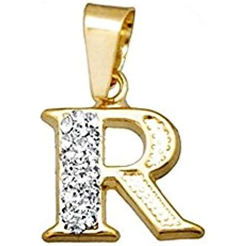 Ciondolo in oro 18k resina di cristallo iniziale lettera R [AA4690]