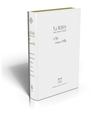 La Bible Vie nouvelle : Avec notes d'étude, Edition souple, PU blanche, tranches or, boîtier