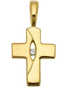 Kreuz Anhänger aus 333 Gold mit Zirkonia