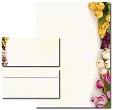 20 Pièces paper-media lot de 10 feuilles de papier à lettre motif à tulipes multicolores 10 enveloppes format long sans fenêtre assorties