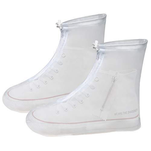 Vicloon copriscarpe impermeabili, scarpe pioggia copriscarpe antiscivolo rinforzata con zip, riutilizzabili stivali di copriscarpe per uomo e donna in giornate piovose e nevose (bianco, l)