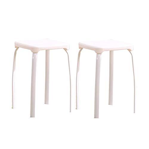 Dall Stühle Möbel Innen Draussen Kunststoff Stapelhocker Packung Mit 2 Hocker Aus Metall (Farbe : Weiß)