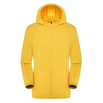 Sunward Coat for Men,Men's Women Casual Jackets Windproof Ultra-Light Rainproof Windbreaker Top Yellow