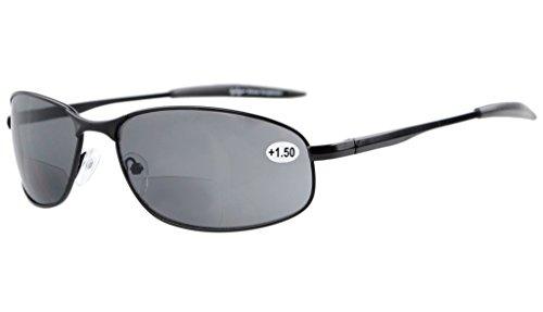 Eyekepper Metallrahmen Fischen Golf Radfahren Fliegen im Freien Bifocal Sonnenbrillen Schwarz +3.0