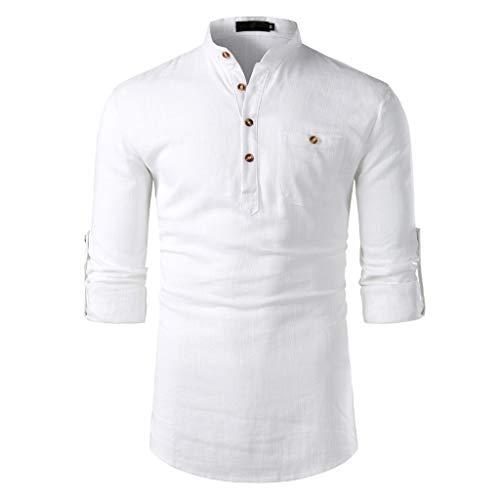Hcfkj camicia a maniche lunghe di lino in cotone casual da uomo alla moda bianco m