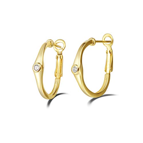 Damen Creolen Ohrringe Gold Vergoldet 925 Sterling Silber Huggie Hoops mit Solitär Cubic Zirkonia - Durchmesser 20 mm