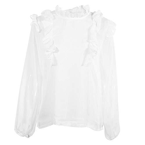 GLOGLOW Frauen Rüschen Bluse Top Langarm Stehkragen Casual Chiffon Weißes Hemd(M) -