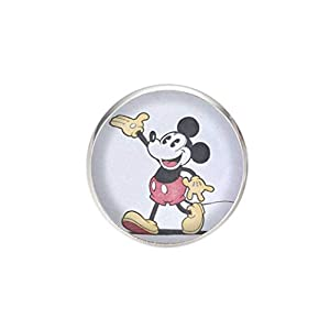 Edelstahl Brosche, Durchmesser 25mm, Stift 0,7mm, handgemachte Illustration Mickey Mouse